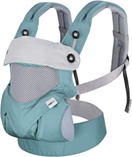 Fascol Babytrage, 4 in 1 Bauchtrage Rückentrage Ergonomische für Neugeborene und Kleinkinder von 3-48 Monate3.5-25KG, Einstellbare Kindertrage Mit Abnehmbarer Kapuze, Atmungsaktiver, Blau