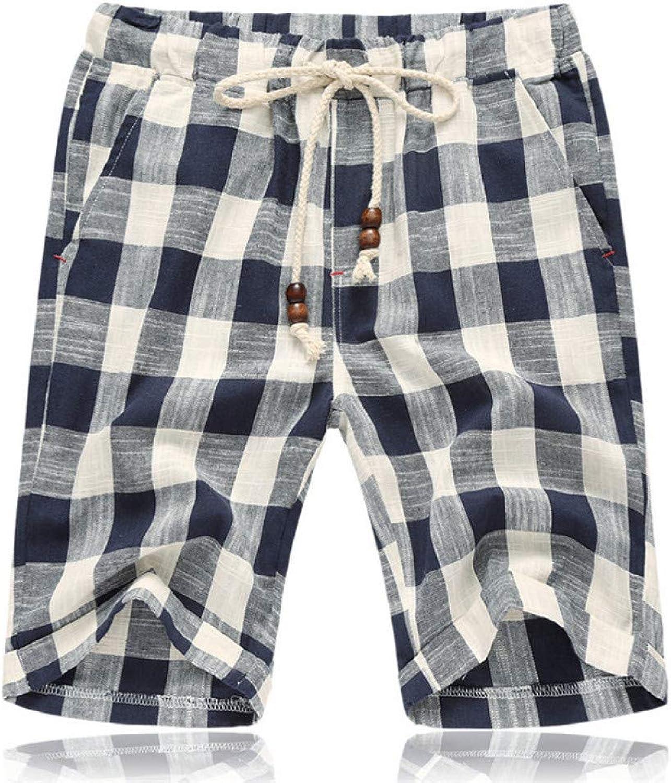 TOPDCO Summer Mens Casual Shorts Cotton Plaid Beach Shorts Men Fashion Short Male Sport Cool 5XL