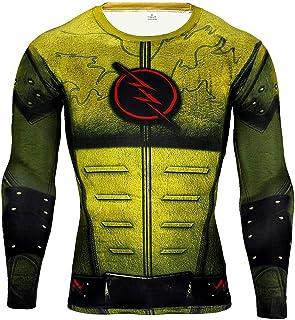 HOOLAZA Avengers Super Heroes Hombres Camiseta de compresión de Manga Larga Iron Man Flash Hulk Ant-Man Black Panther Thor...