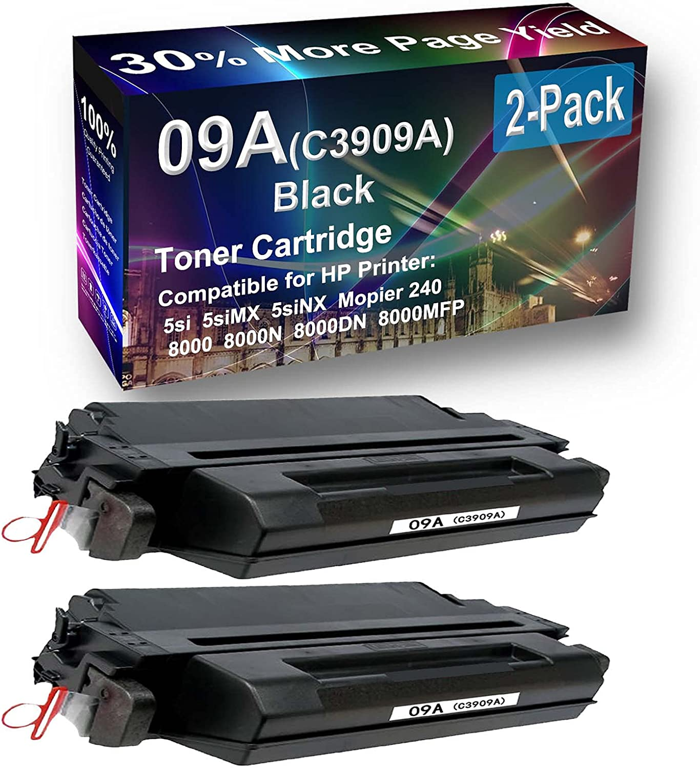 2-Pack Compatible High Capacity 8000DN, 8000MFP Printer Toner Cartridge Replacement for HP 09A (C3909A) Printer Cartridge (Black)
