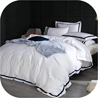 White Luxury 100% Egyptian Cotton Bedding Sets Full Queen King Size Duvet Cover Bed/Flat Sheet Fitted Sheet Set,4,Superking fitted4pcs