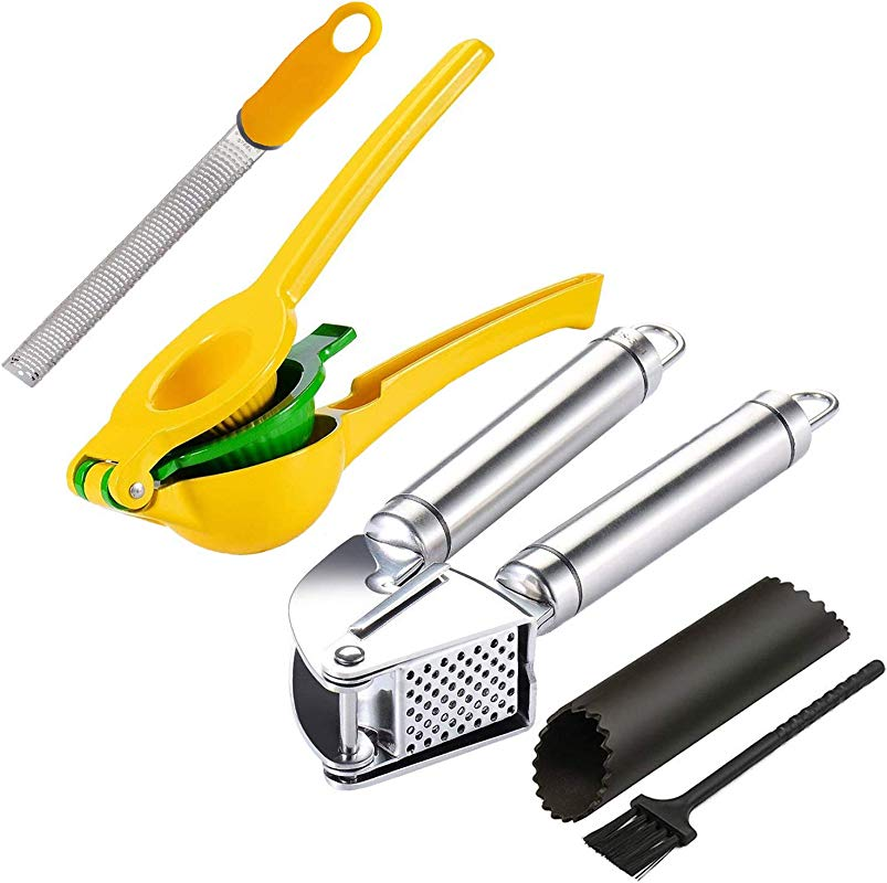 Garlic Ginger Press Lemon Lime Squeezer Zester Kitchen Tool Set Citrus Press Juicer Stainless Steel Mincer And Crusher With Silicone Roller Peeler Zester Grater For Zesting Citrus And Grating Cheese