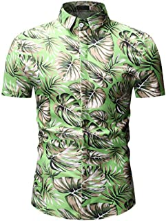 JYDQM Summer New Men's Fashion New Beach Short Sleeve Shirt Casual Short Sleeve Floral Shirt (Color : A, Size : L code)