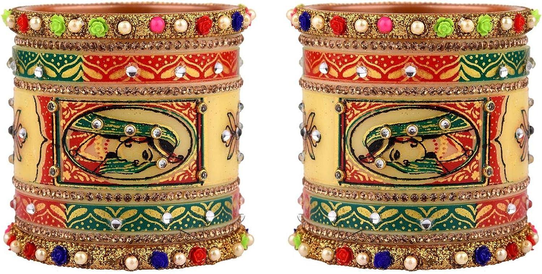 Efulgenz Indian Bangle Set Bollywood Traditional Handmade Kundan Bridal Bangle Bracelet Jewelry