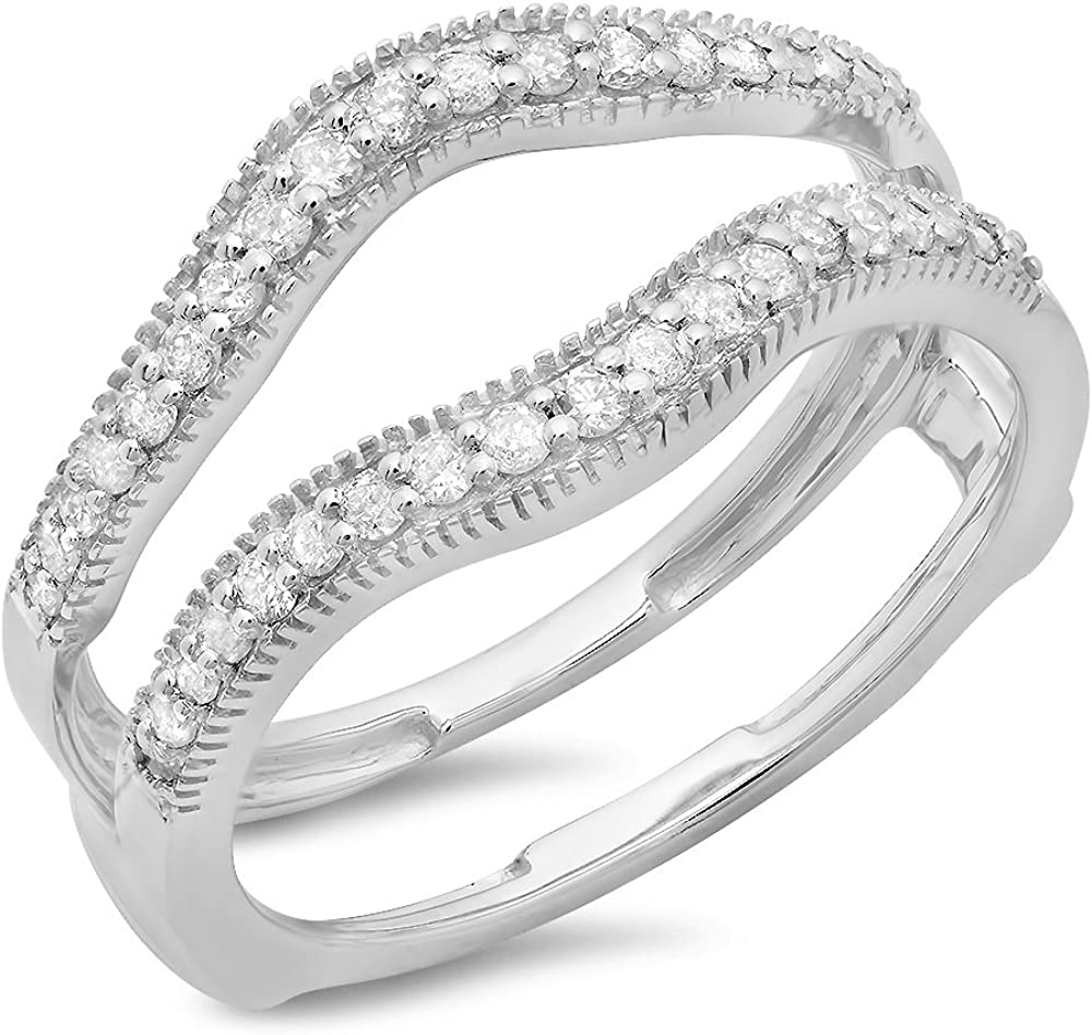 Dazzlingrock Collection 0.40 Carat (ctw) 14K Gold Round Cut Diamond Ladies Anniversary Wedding Enhancer Guard Double Ring