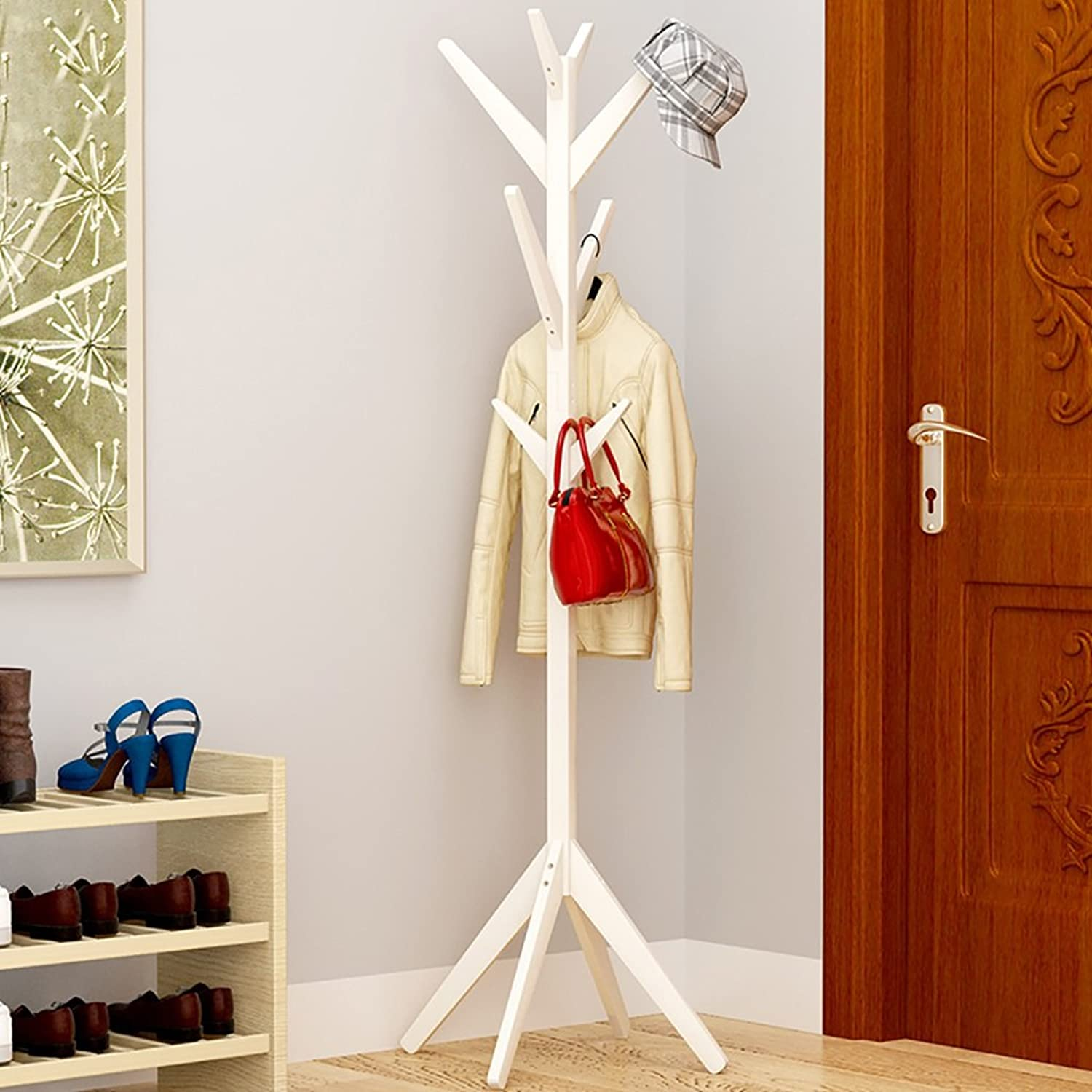 Simple Creative Tree Solid Wood Coat Rack Floor Fashion Living Room Bedroom Clothes Rack Bag Holder (color   B)