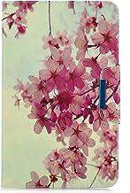 YKTO Samsung Galaxy Tab A 10.1 2016 T580/T585 Funda Magnético Capirotazo Billetera Cuero Soporte Ligera Cover Antideslizante Mate Anti-arañazos Carcasa Pintura Vistoso Case Flor de melocotón