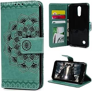MOLLYCOOCLE LG K20 Plus Case, LG K20 V Case,LG K10 (2017) Case,LG Grace LTE case Wallet Case Embossed Half Mandala Flower Pattern Premium PU Leather Soft TPU Inner Bumper Cover, Mint Green