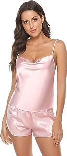 Pijama Mujer Seda Verano Cortos 2 Piezas sin Mangas Suave, Ropa Mujer,Pijama Mujer Verano Corto,Regalos para Mujer Adolescentes