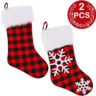 AerWo 2PCS VintageChristmas Stockings, Triple Layers ChristmasSnowflake Stockings, Red and Black Buffalo Plaid Christmas Stocking with Faux Fur Cuff,18 inches