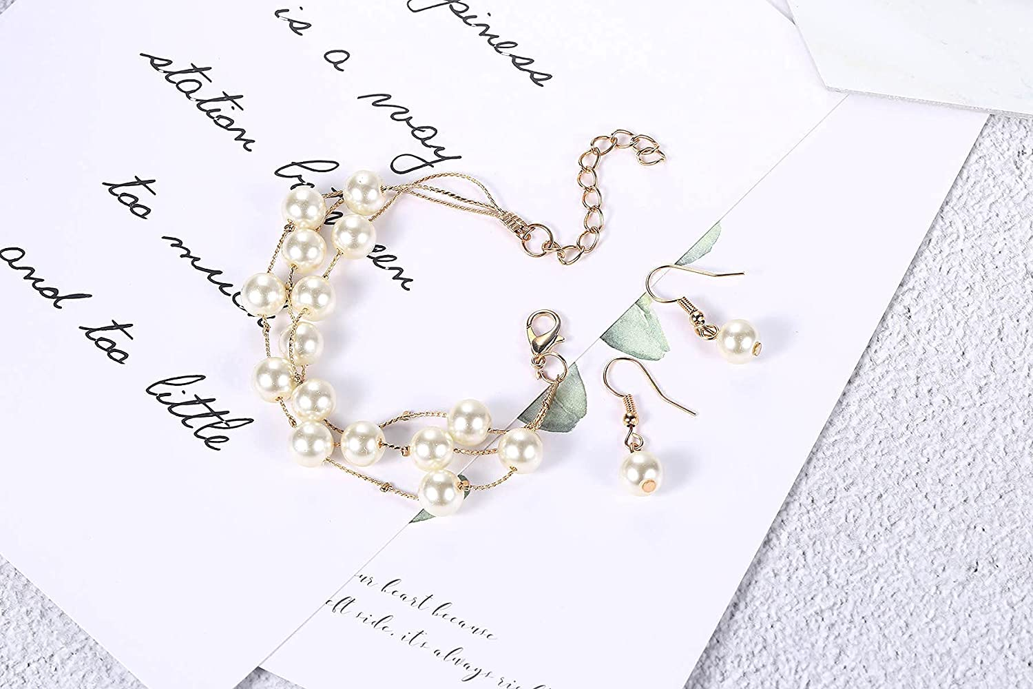 Layered Simulated Pearl Necklace Bracelet Earrings Jewelry Set for Women Bridal Special Occasions | Pearls Necklaces for Women| Pearl Earrings for Women | Jewelry Sets for Women | Wedding Jewelry for Bride | Bridal Jewelry Set for Wedding | Bridesmaid Jew
