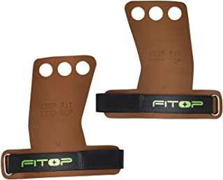 FITOP Leather Gymnastics Grips Crossfit Gloves, 3 Hole Bar Grips Perfect for Pull Ups, WOD and Weight Lifting Training, Pa...