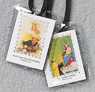 """Brown Cord Laminated Scapular- Cord Size: 1/2""""H x 14 1/2""""L - Pkg of 50"""