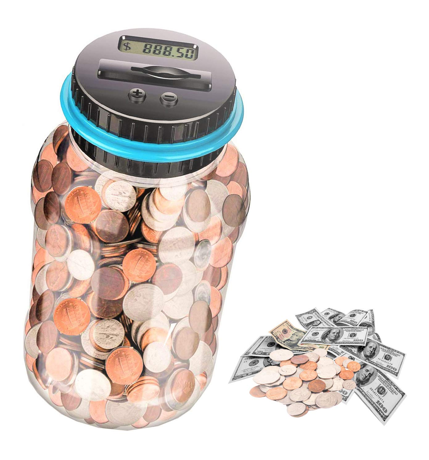 Birthday Boys and Girls as Gift on Christmas New Years day Not Included Powered by Battery Simple Auto Counting Money Box for Kids and Adults Digital Coin Bank Clear LCD Large Piggy Bank
