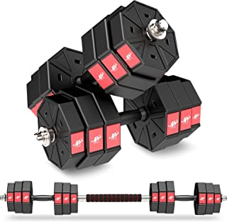 LEADNOVO Weights Dumbbell Barbell Set, 44Lbs/20KG 3 in 1 Adjustable Weights Dumbbells Set, Home Fitness Weight Set Gym Wor...