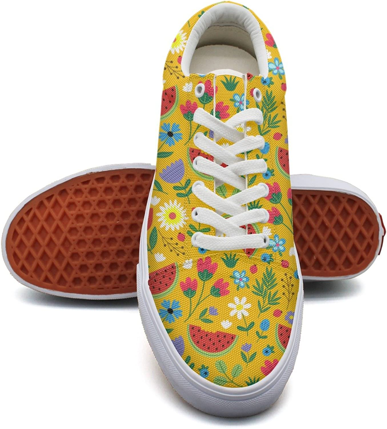 Flowers with Watermelon Leaves Womens Casual Canvas Lace up Dhoes Low Top Retro Volleyball Sneakers for Women's
