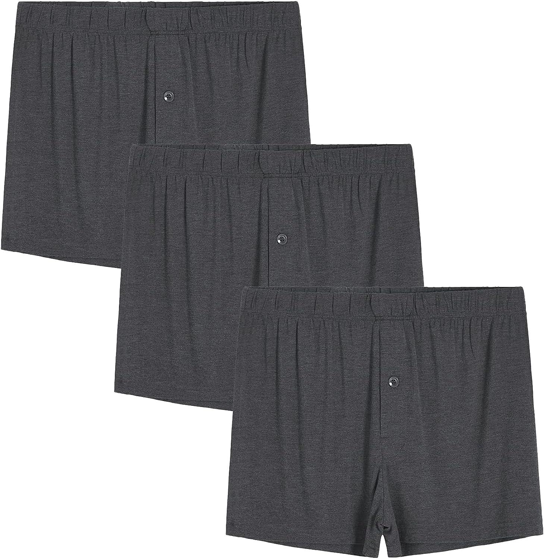 Latuza Men's Bamboo Viscose Underwear Boxer Shorts Trunk Briefs 3 Pack