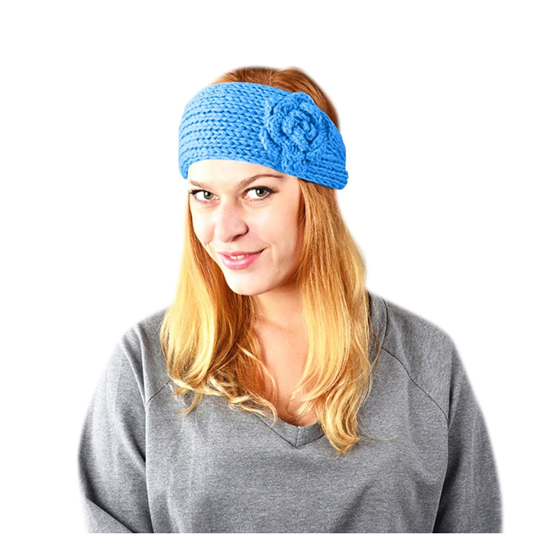 Thatso Knit Winter Headband for Women, Fashion Ear Warmers Crochet Headband, Girls Fuzzy Head Wraps Soft Stretchy Hair Band (Sky Blue, One Size)
