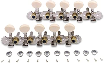 Metallor Guitar Machine Heads Tuning Pegs Keys for 10 String Acoustic Guitar Mandolin Double Hole Chrome 5L 5R.