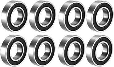 uxcell 6901-2RS Deep Groove Ball Bearing Double Sealed 1180901, 12mm x 24mm x 6mm Carbon Steel Bearings Pack of 8