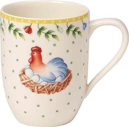 """Preisvergleich für Villeroy & Boch Spring Awakening Kaffeebecher """"Hahn und Henne"""", 340 ml, Premium Porzellan, Gelb/Grün/Rot"""