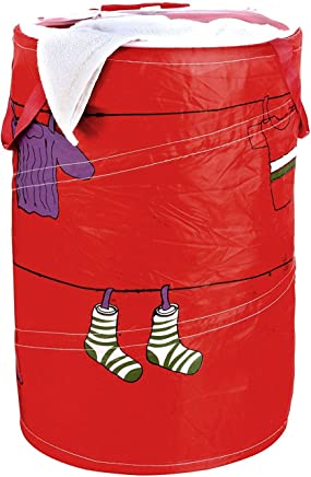 HOKIPO® Multipurpose Foldable & Collapsible 50-Litre Pop-Up Laundry Bag Basket with Zippered Lid and Carry Handle