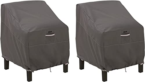 Classic Accessories 55-160-015101-2PK Ravenna Water-Resistant 38 Inch Patio Lounge Chair Cover, 2 Pack,Taupe,Large Lo...