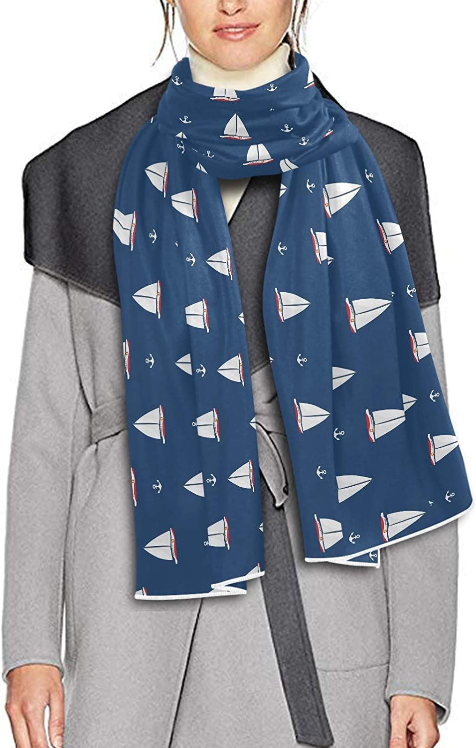 Scarf for Women and Men Sailboat Anchor Shawl Wraps Blanket Scarf Thick Soft Winter Large Scarves Lightweight