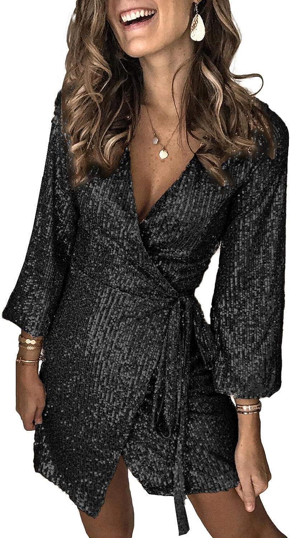 ONNTFE Women Sequin Glitter Short Prom Dresses V Neck Long Lantern Sleeve Mini Wrap Party Dress with Belt