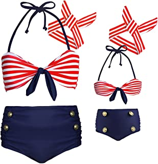 Baby Girls High Waisted Swimsuit Bikini Toddler Bathing Suit Family Mommy and Me