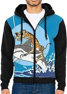 Pirate Giraffe Riding Shark Basic Hoodie Sweatshirts Sports Pullovers with Pockets Fleece for Men