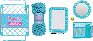School Locker Organizer Kit - Accessories and Decoration Set with Mirror, Message Board, Bin, Rug and Shelf (Aqua/Teal))
