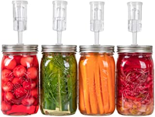 Fermentation Kit for Wide Mouth Jars - 4 Airlocks, 4 Silicone Grommets, 4 Stainless Steel Wide mouth Mason Jar Fermenting ...