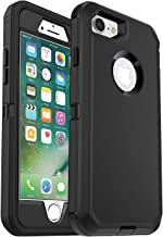 iPhone 7 Defender Case (Case Only) MAET Heavy Duty Case Built-in Screen Protector Rugged Rubber Case Compatible iPhone 7&iPhone 8 - Black - Bulk Packaging