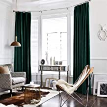 jinchan Velvet Curtain Green Living Room Rod Pocket Window Curtain Panel 95 inch Long Bedroom Thermal 1 Panel