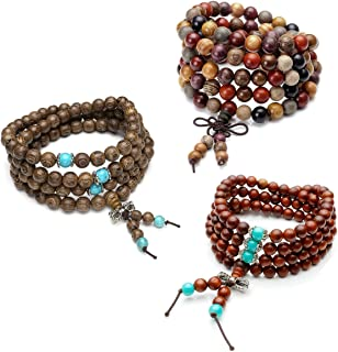 Unisex 108 Natural Wood 6mm 8mm Beads Bracelet Buddhist Rosary Mala Necklace(8mm Sandalwood Duobao)