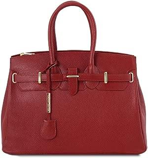 TLBag Leather handbag with golden hardware Red
