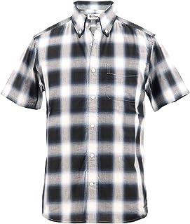 [SWEEP!! LosAngeles スウィープ ロサンゼルス]メンズ コットン オンブルチェック柄 半袖ボタンダウンシャツ S/S OMBRE BLACK(ブラック)