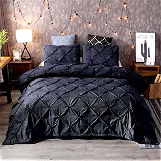 Black Pinch Pleat Duvet Cover Set 3 Pieces Luxury Handmade Adults Bedding Set with 2 Pillowcases Super Microfiber Bedding Set with Zipper Closure Modern Pleated Quilt Duvet Cover King Size 90