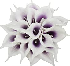 Duovlo 20pcs Calla Lily Bridal Wedding Bouquet Lataex Real Touch Artificial Flower Home Party Decor (Purple in White)