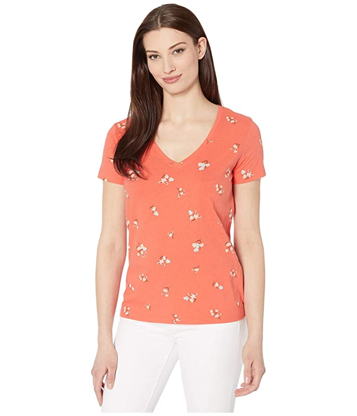 Lucky Brand  Short Sleeve V-Neck Floral Tee (Red Multi) Womens Clothing