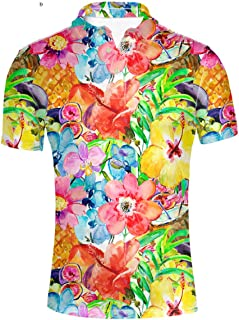 LedBack Animal Dog Print Polos Shirt for Men Short Sleeve Cool Stripe T-Shirt