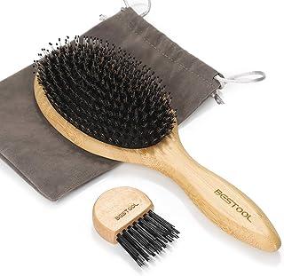 BESTOOL ヘアブラシ 豚毛 くし 木製 櫛 パドルブラシ メンズ レディース こども ヘアケア 高级 コーム 頭皮マッサージ サラサラ 艶髪 絡まない 髪質改善