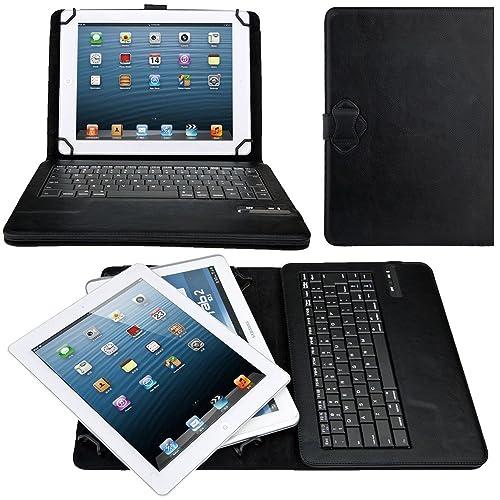 eTopxizu Universal 9-10 Inch PU Leather Portfolio Case with Detachable Removable Wireless Bluetooth Keyboard