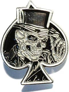 Spilla in metallo smaltato asso di Picche Biker Grinning Skull in nero
