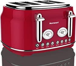 Artisan 4 Slot Toaster by Homeart | 2019 Electric Toaster with Multi-Function Toaster Options | Vintage Toaster Stainless Steel (Red)