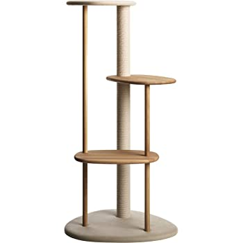 KARIMOKU CAT TREE Furniture Made in Japan, Compatible with Kittens and Elderly Cats, Cotton Rope Claw Sharpener, Height 48.8 inches (124 cm), Stationary (Light Gray & Pure Oak)