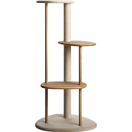 KARIMOKU CAT TREE カリモク家具 日本製 子猫から高齢猫まで対応 綿縄の爪とぎ 高さ124cm 据え置き (ライトグレー&ピュアオーク)
