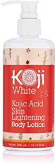 Pure Kojic Acid Skin Lightening Body Lotion – Natural Moisturizer & Uneven Skin Tone For Reduce Wrinkles, Acne Scars & Dark Spot, 10 Ounce Bottle (1 Bottle)