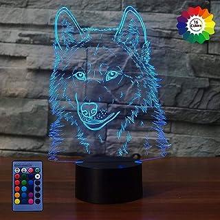 Créatif 3D Loup Nuit Lampe Art Déco Lampe Lumières LED Décoration Lampes Contrôle à distance 7/16 Couleurs Change Veilleus...